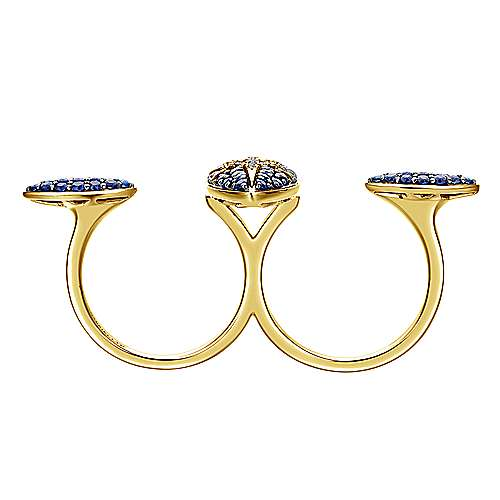 18K Yellow Gold Open Sapphire and Diamond Double Finger Star Ring