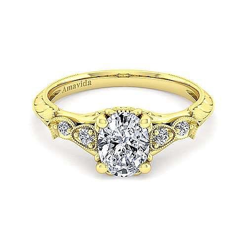 18K Yellow Gold Oval Diamond Engagement Ring