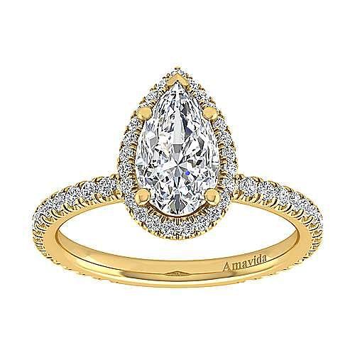 18K Yellow Gold Pear Shape Halo Diamond Engagement Ring