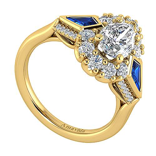 18K Yellow Gold Pear Shape Halo Three Stone Sapphire and Diamond Engagement Ring