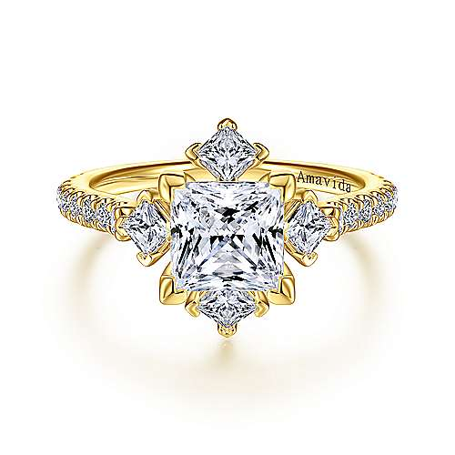 18K Yellow Gold Princess Cut Diamond Engagement Ring