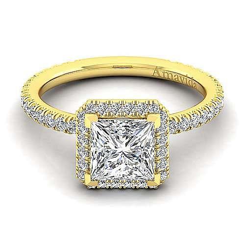 18K Yellow Gold Princess Halo Diamond Engagement Ring