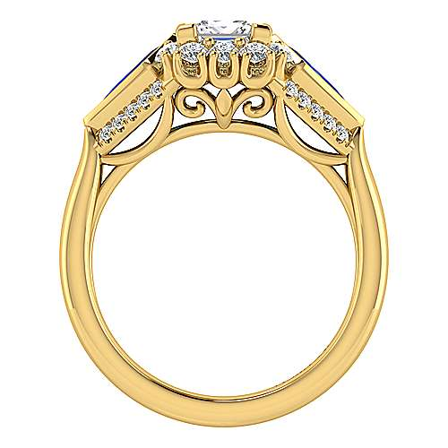 18K Yellow Gold Princess Halo Sapphire and Diamond Engagement Ring