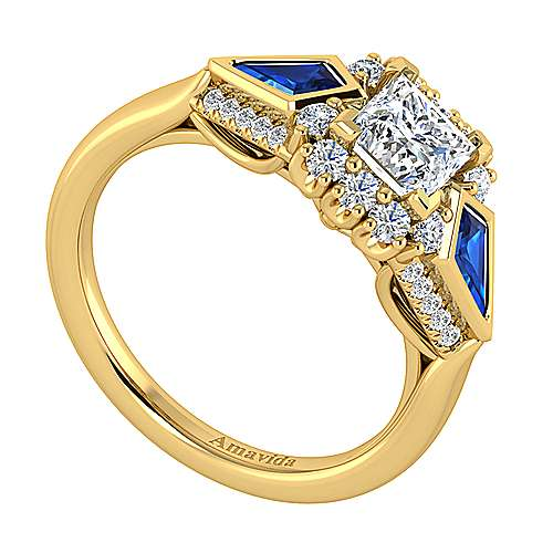 18K Yellow Gold Princess Halo Sapphire and Diamond Engagement Ring
