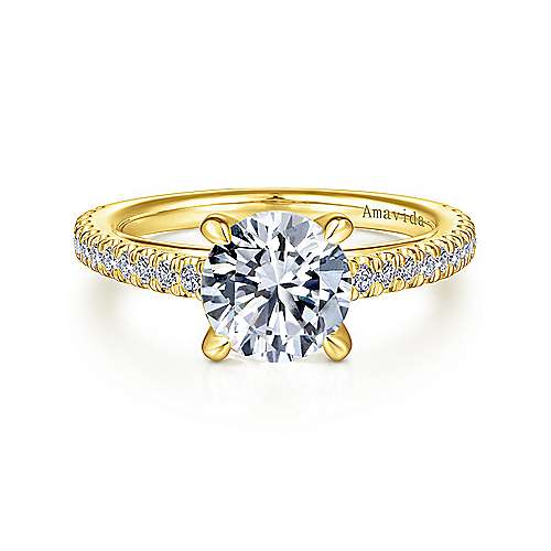 18K Yellow Gold Round Diamond Engagement Ring