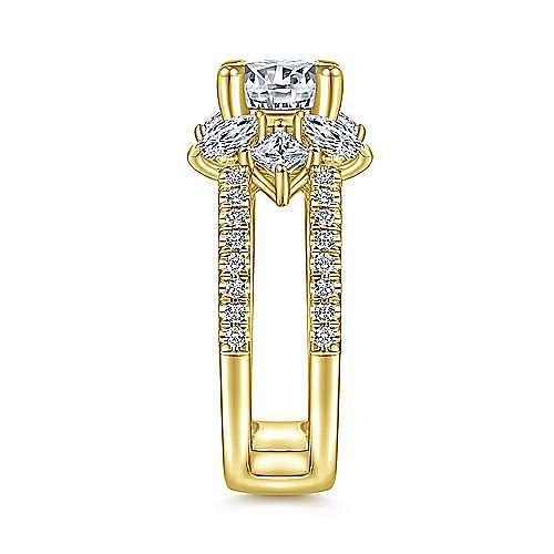 18K Yellow Gold Round Diamond Split Shank Engagement Ring