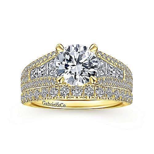 18K Yellow Gold Round Diamond Wide Band Engagement Ring