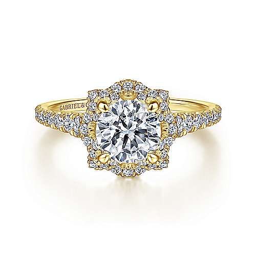 18K Yellow Gold Round Halo Diamond Engagement Ring