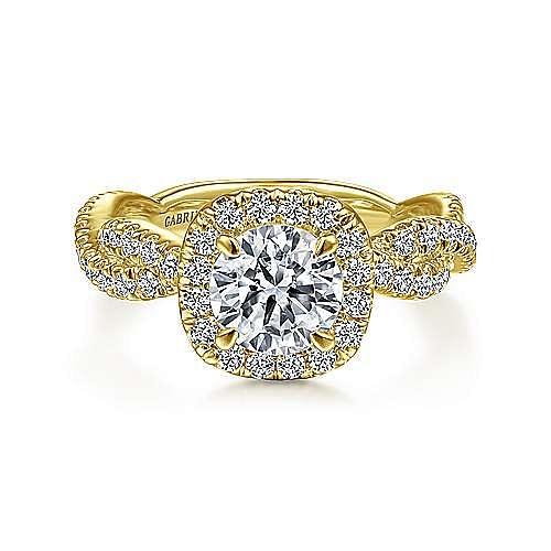 18K Yellow Gold Round Halo Diamond Engagement Ring