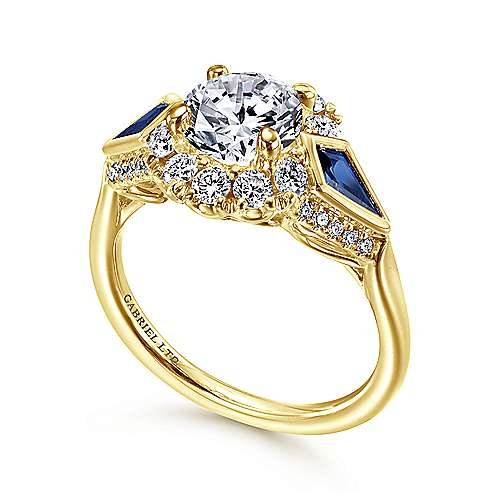 18K Yellow Gold Round Halo Sapphire and Diamond Engagement Ring