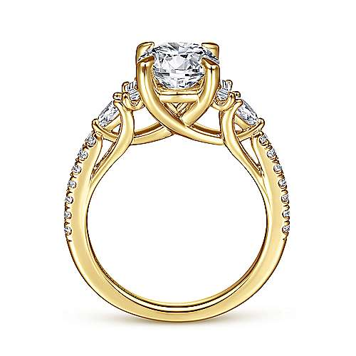 18K Yellow Gold Round Three Stone Diamond Engagement Ring