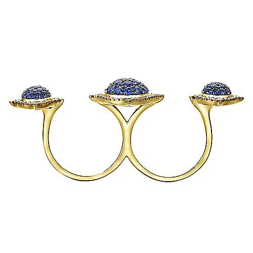 18K Yellow Gold Sapphire Cluster Double Finger Ring with Diamond Halos