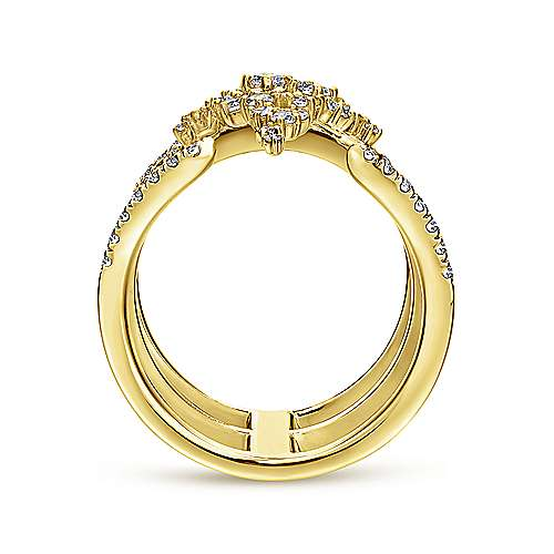 18K Yellow Gold Three Row Open Ring with Pavé Diamond Cluster Center