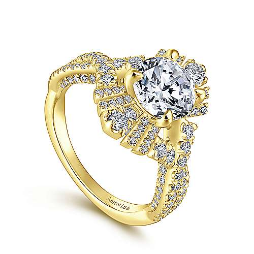 18K Yellow Gold Twisted Round Diamond Engagement Ring