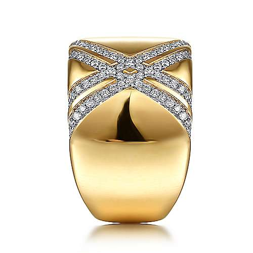 18K Yellow Gold Wide Diamond Ring with Diamond Criss Crossing Rows