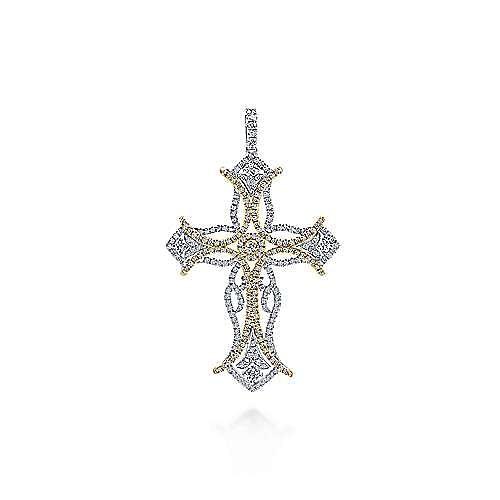 18K Yellow-White Gold  Fashion Cross Pendant