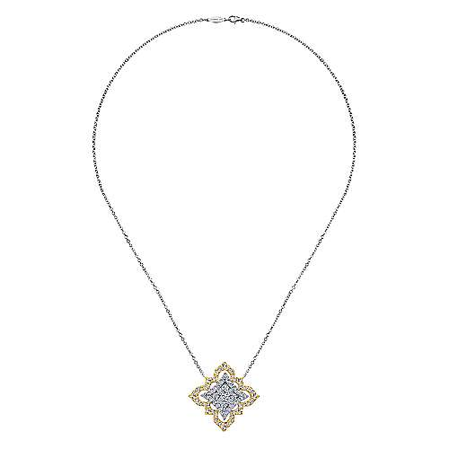 18K Yellow-White Gold  Fashion Necklace