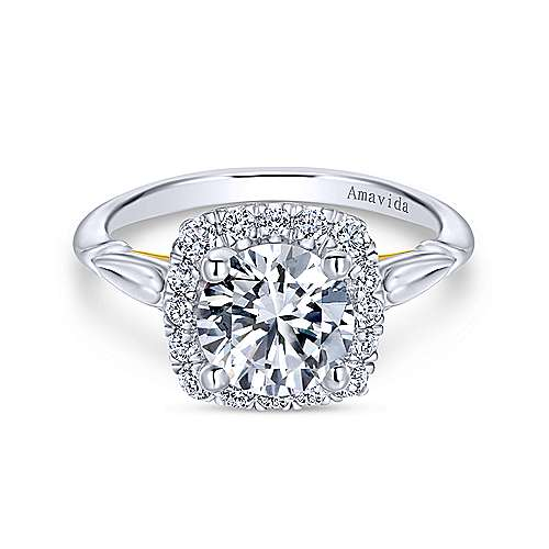 Gabriel - 18K Yellow-White Gold Cushion Halo Round Diamond Engagement Ring