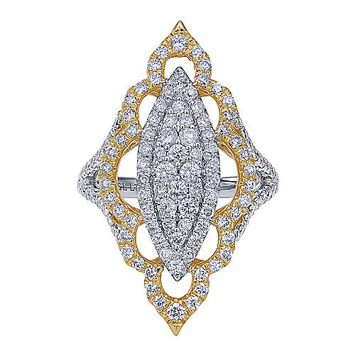 18K Yellow/White Gold Marquise Cluster Diamond Statement Ring