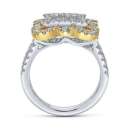 18K Yellow/White Gold Scalloped Split Shank Diamond Ring