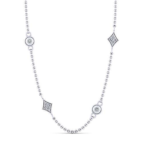 18inch 14K White Gold Diamond Station Necklace angle 1