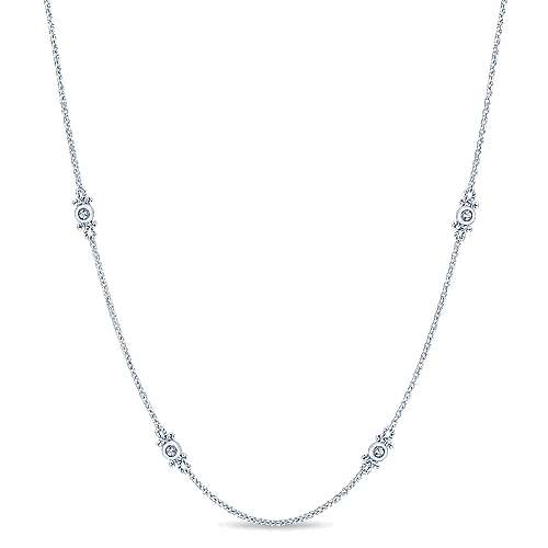 Gabriel - 18inch 14K White Gold Diamond Station Necklace