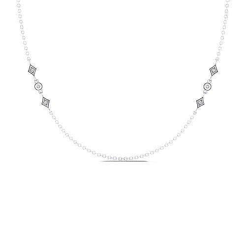 Gabriel - 18inch 14K White Gold Diamond Station Necklace