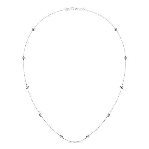 18inch 14K White Gold Diamond Station Necklace angle 2