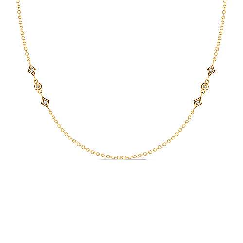 Gabriel - 18inch 14K Yellow Gold Diamond Station Necklace