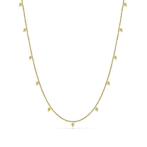 18inch 14K Yellow Gold Diamond Station Necklace angle 1