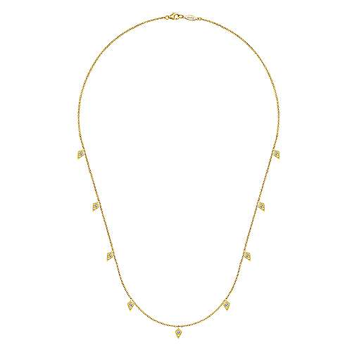 18inch 14K Yellow Gold Diamond Station Necklace angle 2