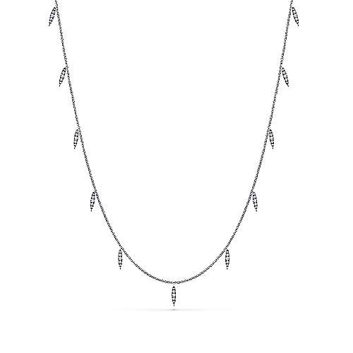 18inch 14k White Gold Pave Diamond Marquise Station Necklace