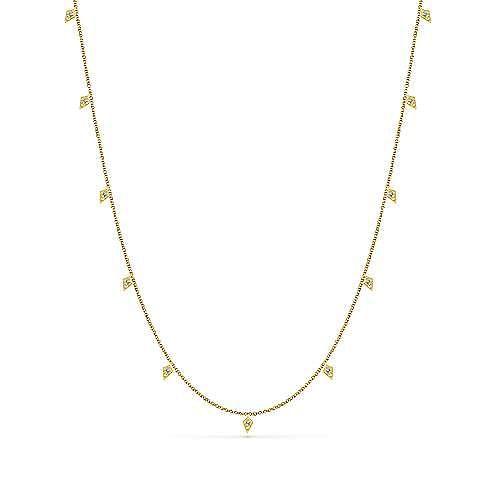 Gabriel - 18inch 14k Yellow Gold Kite Diamond Station Necklace