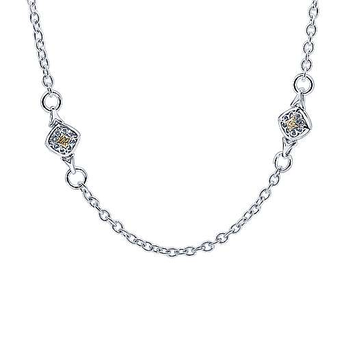 Gabriel - 18inch 925 Silver/18K Yellow Gold Station Necklace