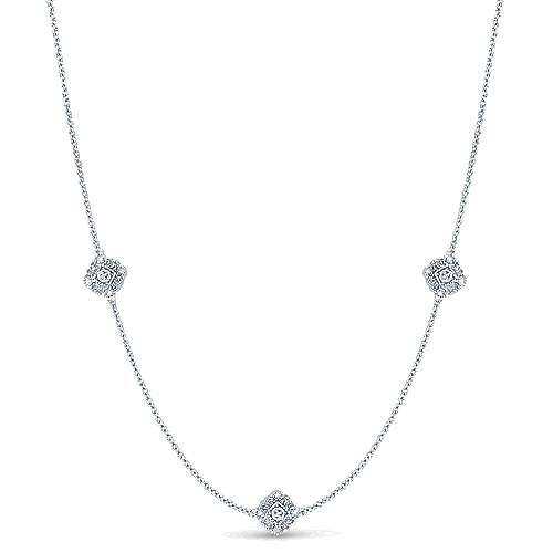 18inch 925 Silver Diamond Station Necklace angle 1