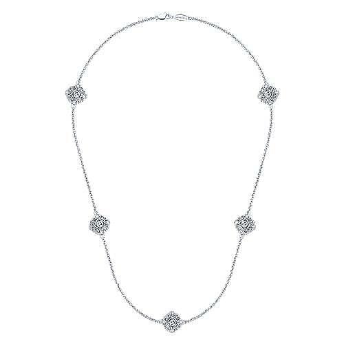 18inch 925 Silver Diamond Station Necklace angle 2