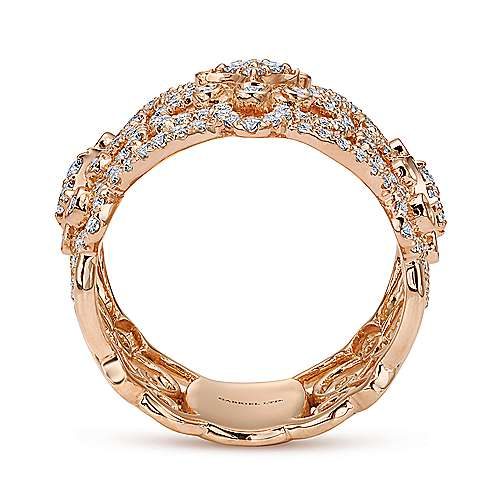 18k Rose Gold Allure Wide Band Ladies' Ring angle 2