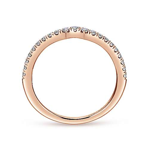 18k Rose Gold Contemporary Curved Wedding Band angle 2
