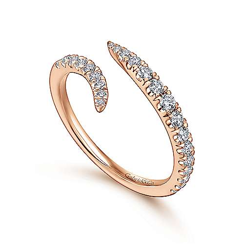 18k Rose Gold Contemporary Curved Wedding Band angle 3