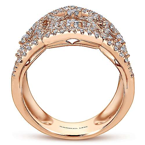 18k Rose Gold Lusso Statement Ladies' Ring angle 2