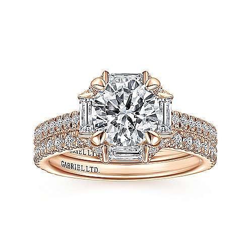 18k Rose Gold Octagonal Halo Round Diamond Engagement Ring