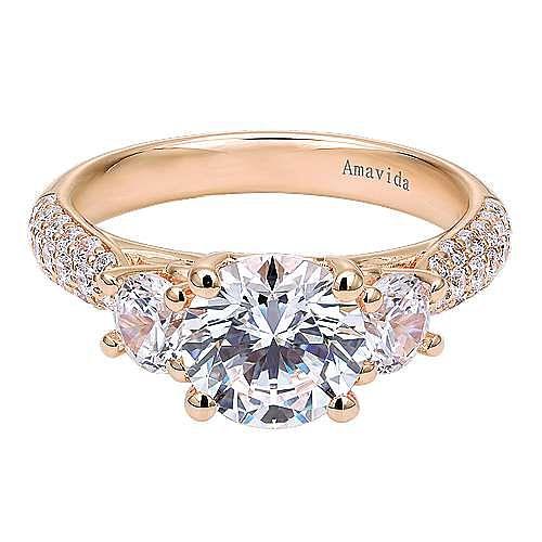 18k Rose Gold Round 3 Stones Engagement Ring angle 1