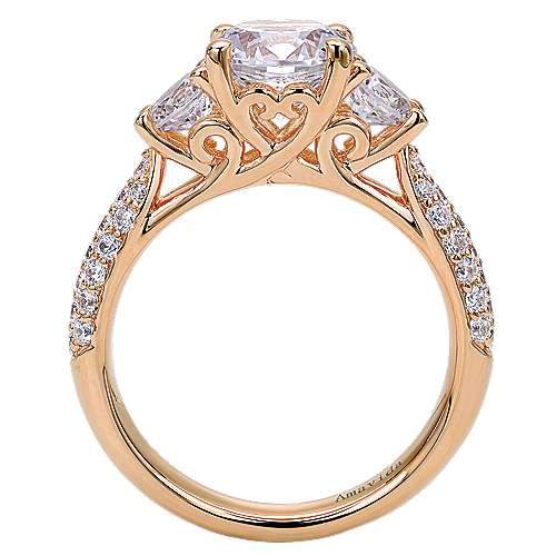 18k Rose Gold Round 3 Stones Engagement Ring angle 2