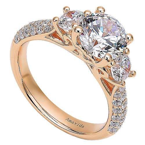 18k Rose Gold Round 3 Stones Engagement Ring angle 3
