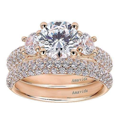 18k Rose Gold Round 3 Stones Engagement Ring angle 4