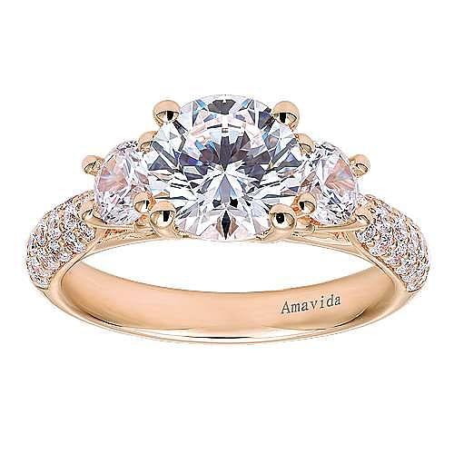 18k Rose Gold Round 3 Stones Engagement Ring angle 5