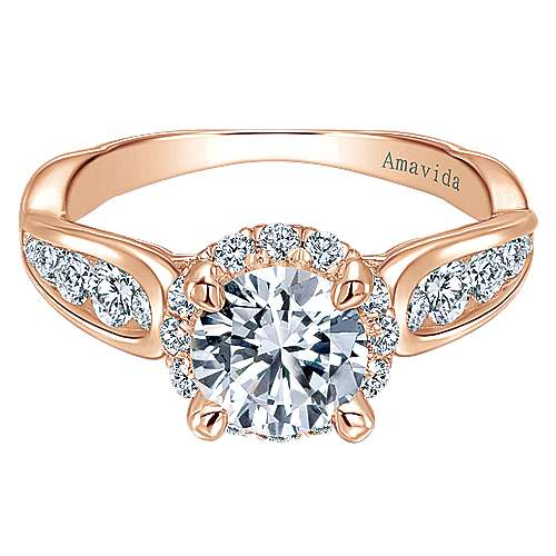 18k Rose Gold Round Halo Engagement Ring angle 1