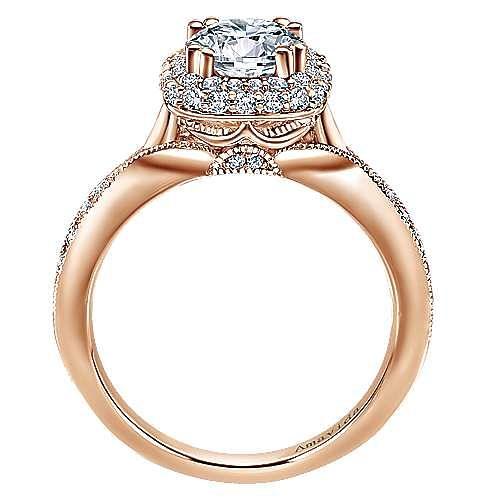 18k Rose Gold Round Halo Engagement Ring angle 2