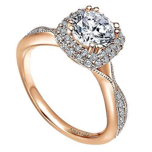 18k Rose Gold Round Halo Engagement Ring angle 3