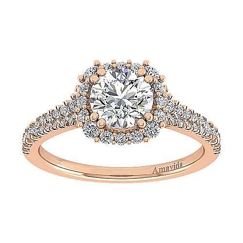 18k Rose Gold Round Halo Engagement Ring angle 5